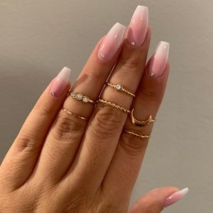 Jewelry - NEW Gold Mixed Boho Midi/Knuckle Ring Set